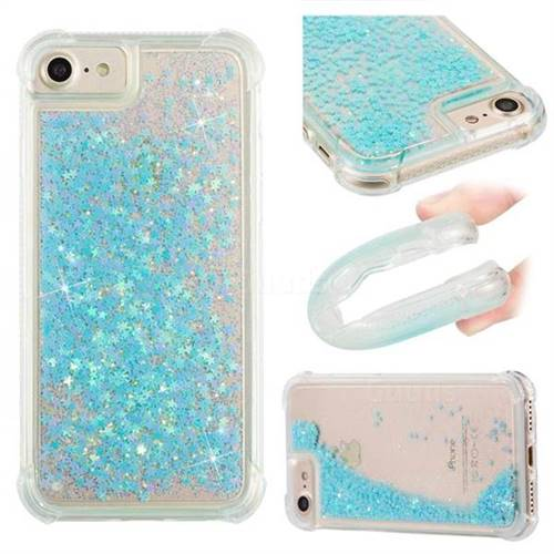 Dynamic Liquid Glitter Sand Quicksand TPU Case for iPhone 8 / 7 (4.7 inch) - Silver Blue Star