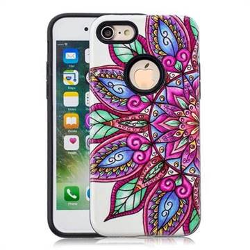 Mandara Flower Pattern 2 in 1 PC + TPU Glossy Embossed Back Cover for iPhone 8 / 7 (4.7 inch)