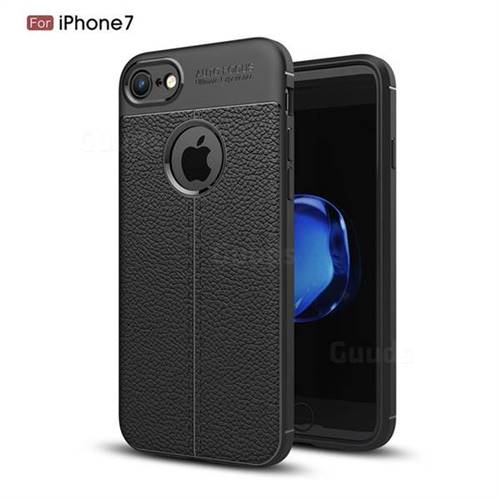 Luxury Auto Focus Litchi Texture Silicone TPU Back Cover for iPhone 8 / 7 (4.7 inch) - Black