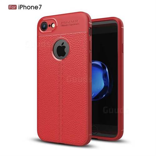 Luxury Auto Focus Litchi Texture Silicone TPU Back Cover for iPhone 8 / 7 (4.7 inch) - Red