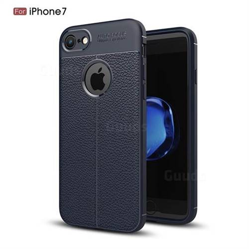 Luxury Auto Focus Litchi Texture Silicone TPU Back Cover for iPhone 8 / 7 (4.7 inch) - Dark Blue