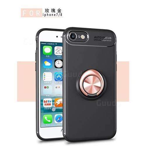 Auto Focus Invisible Ring Holder Soft Phone Case for iPhone 8 / 7 (4.7 inch) - Black Gold
