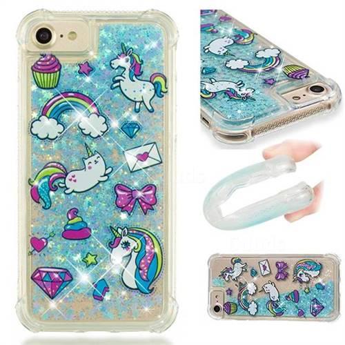 Fashion Unicorn Dynamic Liquid Glitter Sand Quicksand Star TPU Case for iPhone 8 / 7 (4.7 inch)