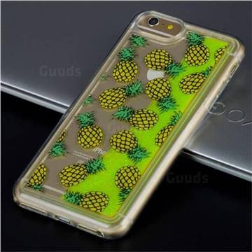 Pineapple Glassy Glitter Quicksand Dynamic Liquid Soft Phone Case for iPhone 8 / 7 (4.7 inch)