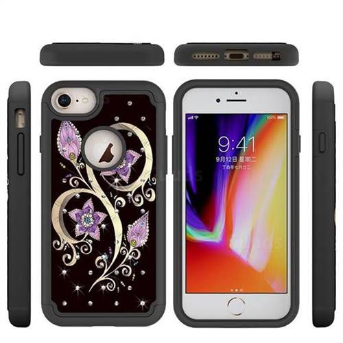 Peacock Flower Studded Rhinestone Bling Diamond Shock Absorbing Hybrid Defender Rugged Phone Case Cover for iPhone 8 / 7 (4.7 inch)