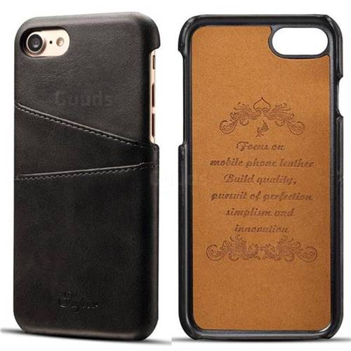 Suteni Retro Classic Card Slots Calf Leather Coated Back Cover for iPhone 8 / 7 (4.7 inch) - Black