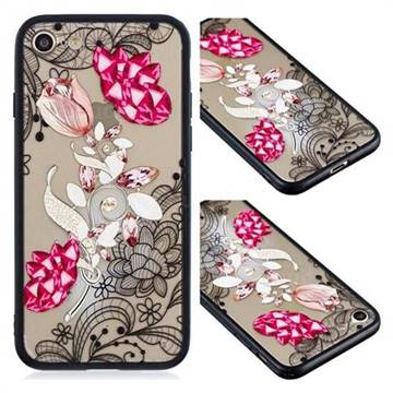 Tulip Lace Diamond Flower Soft TPU Back Cover for iPhone 8 / 7 (4.7 inch)