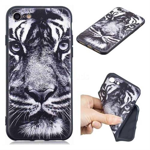 White Tiger 3D Embossed Relief Black TPU Cell Phone Back Cover for iPhone 8 / 7 (4.7 inch)