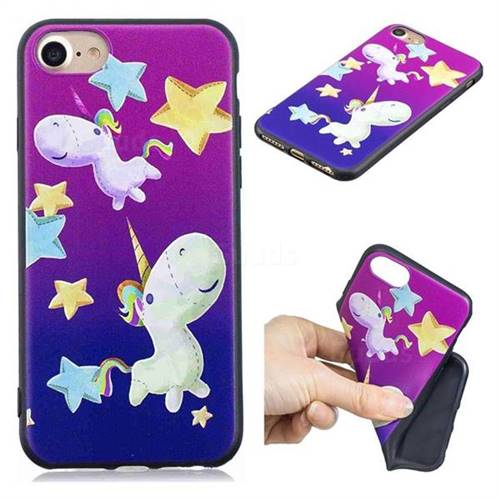 Pony 3D Embossed Relief Black TPU Cell Phone Back Cover for iPhone 8 / 7 (4.7 inch)
