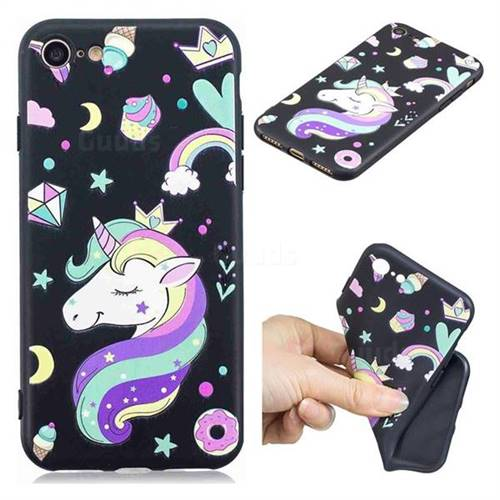 Candy Unicorn 3D Embossed Relief Black TPU Cell Phone Back Cover for iPhone 8 / 7 (4.7 inch)