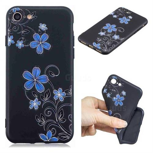 Little Blue Flowers 3D Embossed Relief Black TPU Cell Phone Back Cover for iPhone 8 / 7 (4.7 inch)