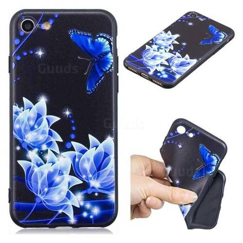 Blue Butterfly 3D Embossed Relief Black TPU Cell Phone Back Cover for iPhone 8 / 7 (4.7 inch)