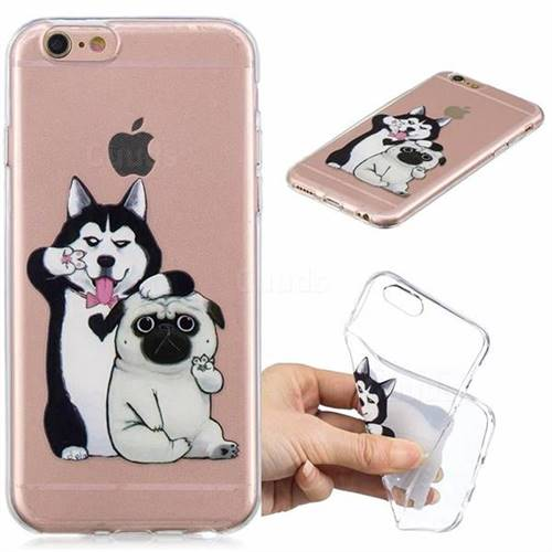 Selfie Dog Clear Varnish Soft Phone Back Cover for iPhone 8 / 7 (4.7 inch)