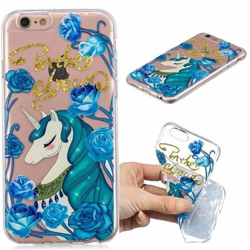 Blue Flower Unicorn Clear Varnish Soft Phone Back Cover for iPhone 8 / 7 (4.7 inch)