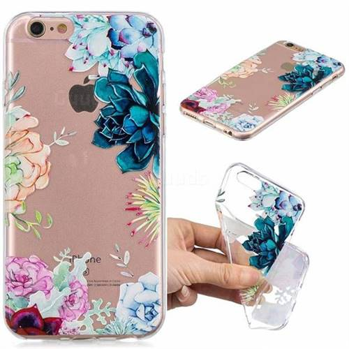 Gem Flower Clear Varnish Soft Phone Back Cover for iPhone 8 / 7 (4.7 inch)