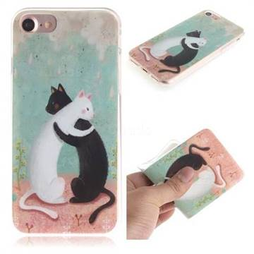 Black and White Cat IMD Soft TPU Cell Phone Back Cover for iPhone 8 / 7 (4.7 inch)