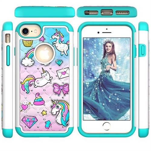 Fashion Unicorn Studded Rhinestone Bling Diamond Shock Absorbing Hybrid Defender Rugged Phone Case Cover for iPhone 8 / 7 (4.7 inch)