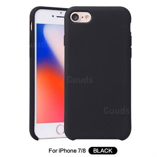 Howmak Slim Liquid Silicone Rubber Shockproof Phone Case Cover for iPhone 8 / 7 (4.7 inch) - Black