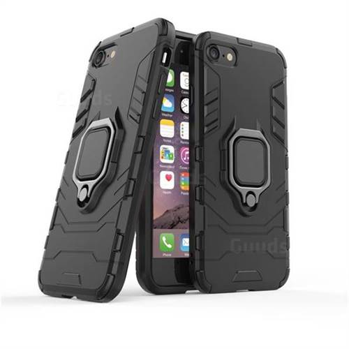 Black Panther Armor Metal Ring Grip Shockproof Dual Layer Rugged Hard Cover for iPhone 8 / 7 (4.7 inch) - Black