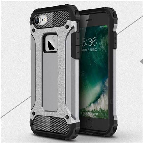 King Kong Armor Premium Shockproof Dual Layer Rugged Hard Cover for iPhone 8 / 7 (4.7 inch) - Silver Grey