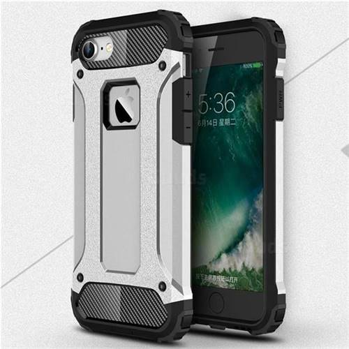 King Kong Armor Premium Shockproof Dual Layer Rugged Hard Cover for iPhone 8 / 7 (4.7 inch) - Technology Silver