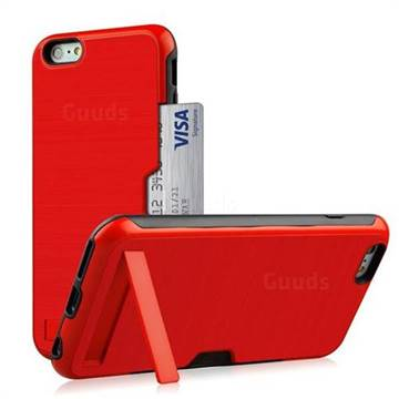 Brushed 2 in 1 TPU + PC Stand Card Slot Phone Case Cover for iPhone 8 / 7 (4.7 inch) - Red