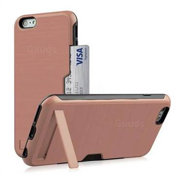 Brushed 2 in 1 TPU + PC Stand Card Slot Phone Case Cover for iPhone 8 / 7 (4.7 inch) - Rose Gold