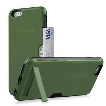 Brushed 2 in 1 TPU + PC Stand Card Slot Phone Case Cover for iPhone 8 / 7 (4.7 inch) - Army Green
