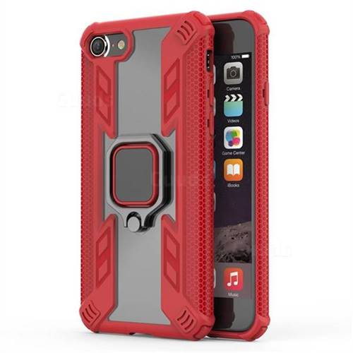 Predator Armor Metal Ring Grip Shockproof Dual Layer Rugged Hard Cover for iPhone 8 / 7 (4.7 inch) - Red