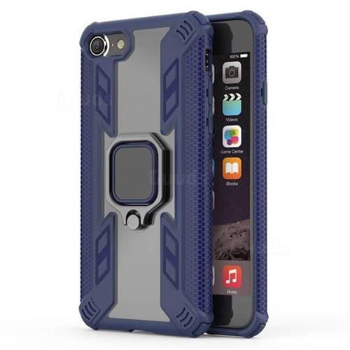Predator Armor Metal Ring Grip Shockproof Dual Layer Rugged Hard Cover for iPhone 8 / 7 (4.7 inch) - Blue