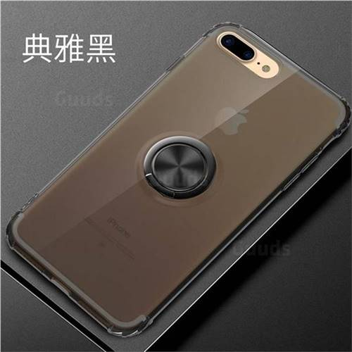 Anti-fall Invisible Press Bounce Ring Holder Phone Cover for iPhone 8 / 7 (4.7 inch) - Elegant Black