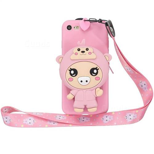 Pink Pig Neck Lanyard Zipper Wallet Silicone Case for iPhone 8 / 7 (4.7 inch)