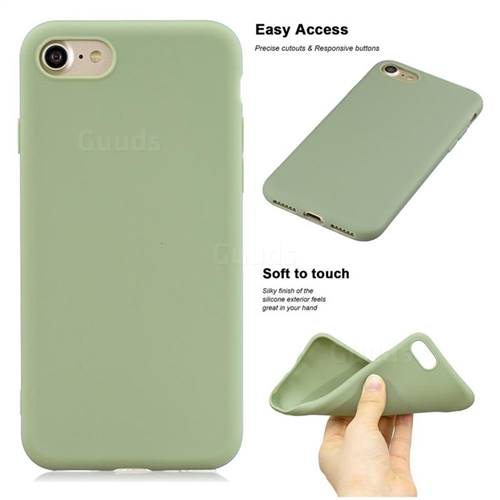 Soft Matte Silicone Phone Cover for iPhone 8 / 7 (4.7 inch) - Bean Green