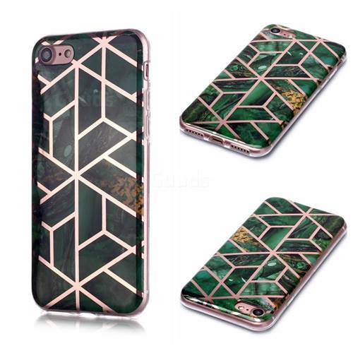 Green Rhombus Galvanized Rose Gold Marble Phone Back Cover for iPhone 8 / 7 (4.7 inch)