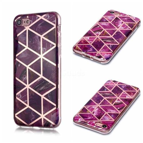 Purple Rhombus Galvanized Rose Gold Marble Phone Back Cover for iPhone 8 / 7 (4.7 inch)