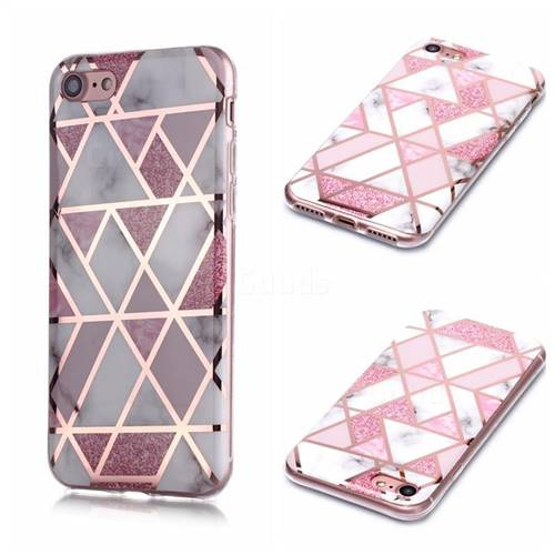 Pink Rhombus Galvanized Rose Gold Marble Phone Back Cover for iPhone 8 / 7 (4.7 inch)