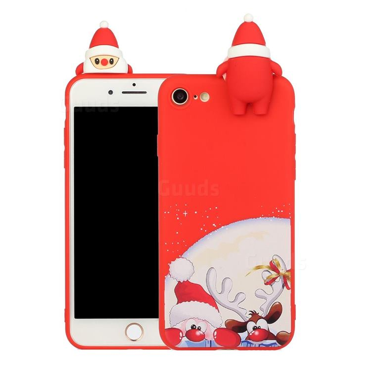Santa Claus Elk Christmas Xmax Soft 3D Doll Silicone Case for iPhone 8 / 7 (4.7 inch)