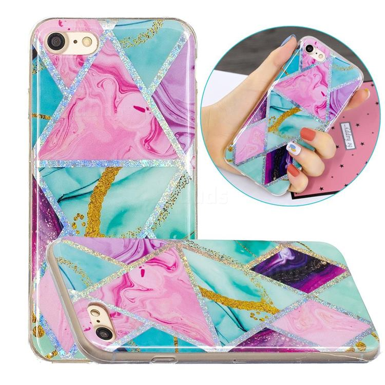 Triangular Marble Painted Galvanized Electroplating Soft Phone Case Cover for iPhone 8 / 7 (4.7 inch)