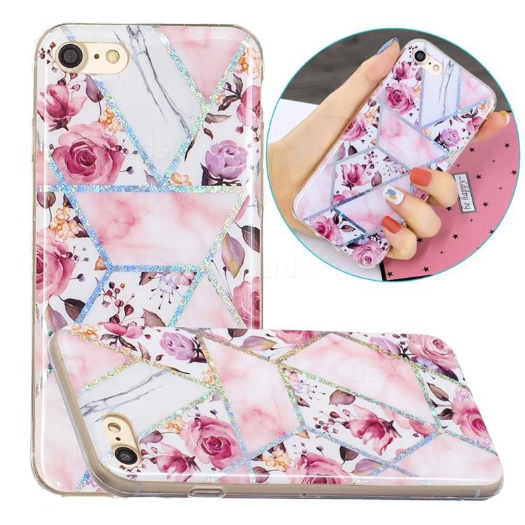 Rose Flower Painted Galvanized Electroplating Soft Phone Case Cover for iPhone 8 / 7 (4.7 inch)