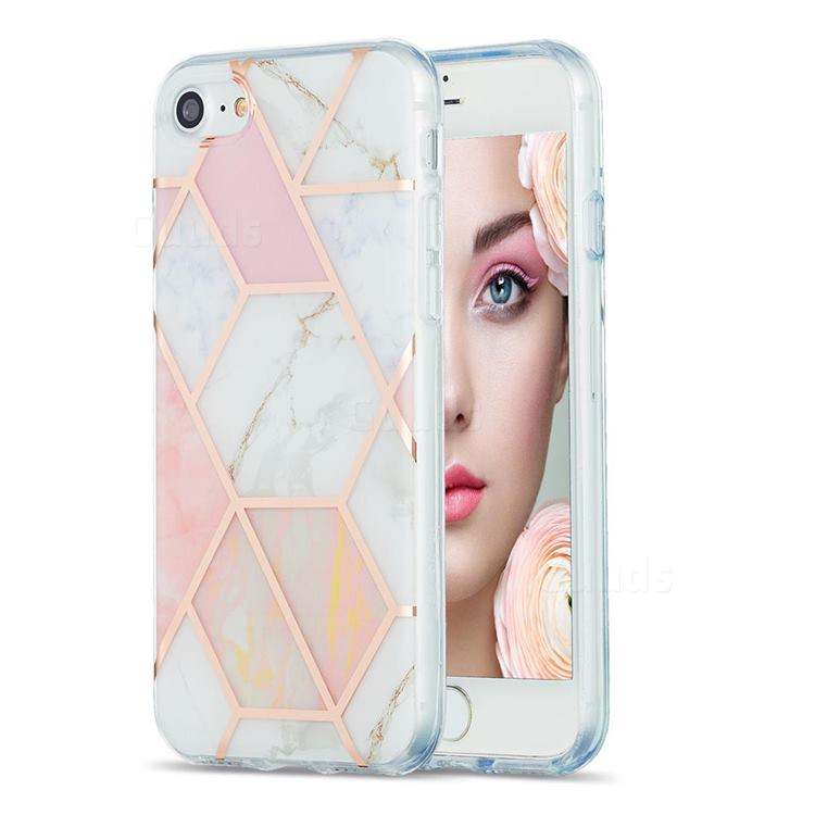 Pink White Marble Pattern Galvanized Electroplating Protective Case Cover for iPhone 8 / 7 (4.7 inch)