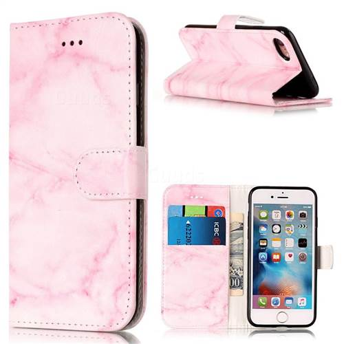 Pink Marble PU Leather Wallet Case for iPhone 8 / 7 8G 7G (4.7 inch)