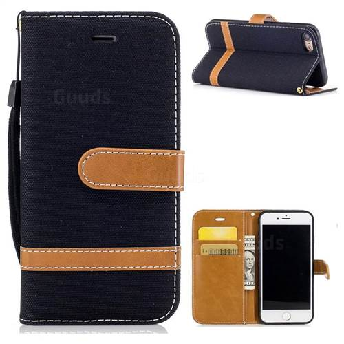 Jeans Cowboy Denim Leather Wallet Case for iPhone 8 / 7 8G 7G(4.7 inch) - Black