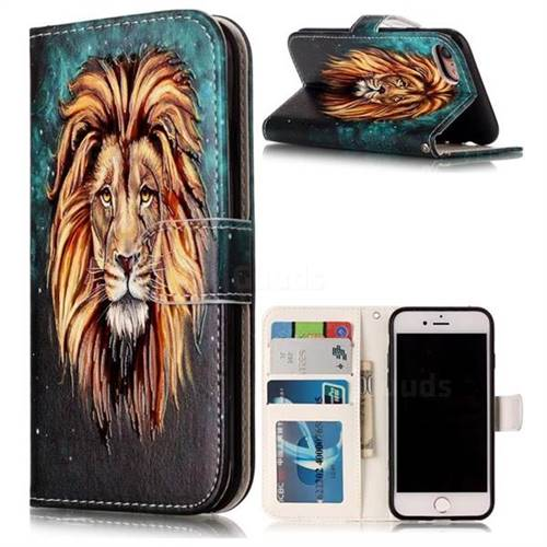 Ice Lion 3D Relief Oil PU Leather Wallet Case for iPhone 8 / 7 8G 7G(4.7 inch)