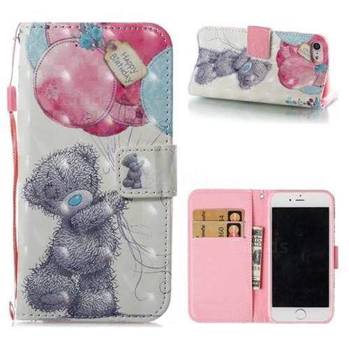 Gray Bear 3D Painted Leather Wallet Case for iPhone 8 / 7 (4.7 inch)