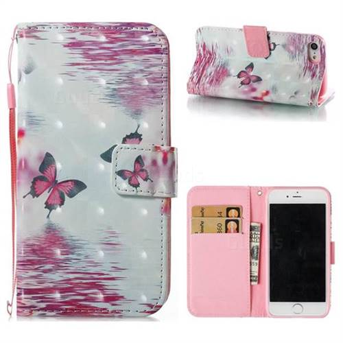 Purple Butterfly 3D Painted Leather Wallet Case for iPhone 8 / 7 (4.7 inch)