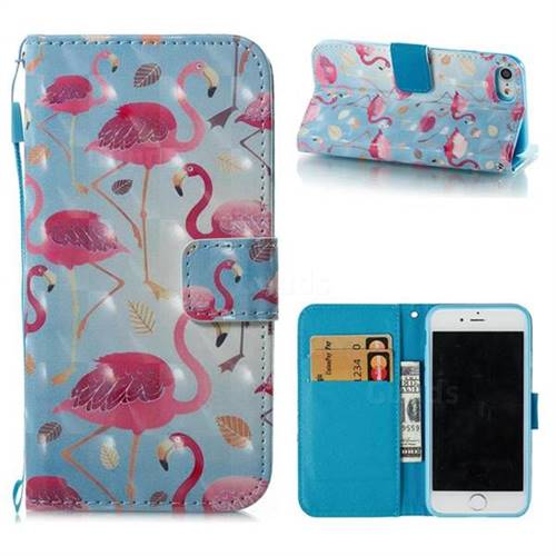 Foraging Flamingo 3D Painted Leather Wallet Case for iPhone 8 / 7 (4.7 inch)