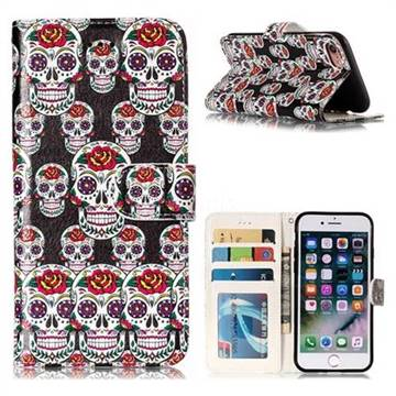 Flower Skull 3D Relief Oil PU Leather Wallet Case for iPhone 8 / 7 (4.7 inch)