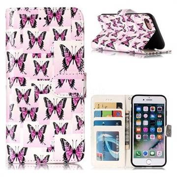 Butterflies Stickers 3D Relief Oil PU Leather Wallet Case for iPhone 8 / 7 (4.7 inch)