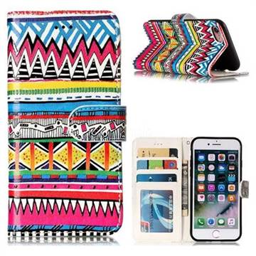 Tribal Pattern 3D Relief Oil PU Leather Wallet Case for iPhone 8 / 7 (4.7 inch)