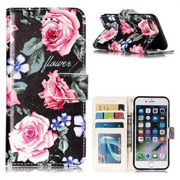 Peony 3D Relief Oil PU Leather Wallet Case for iPhone 8 / 7 (4.7 inch)
